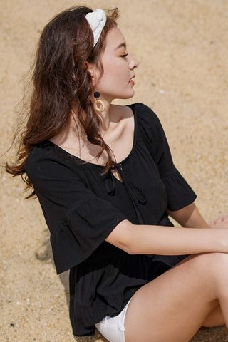 ACACIA LINEN TIER BABYDOLL SLEEVE TOP #MADEBYLOVET  (BLACK)