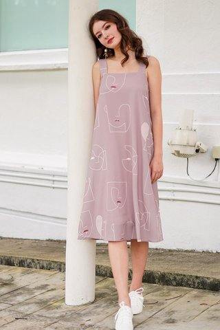 ANASTASIA ABSTRACT FACE KNOT BACK MIDI DRESS #MADEBYLOVET (TAUPE PINK)
