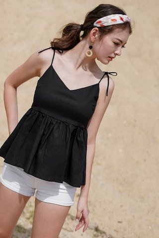 BAILEY TIE-STRING LINEN BABYDOLL TOP #MADEBYLOVET (BLACK)