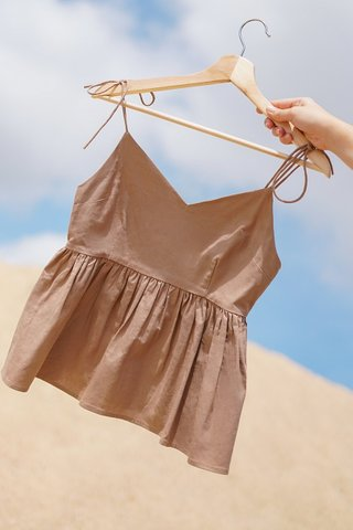 BAILEY TIE-STRING LINEN BABYDOLL TOP #MADEBYLOVET (MOCHA) *BACKORDER*