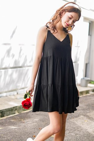 BELLE LINEN RING BABYDOLL DRESS #MADEBYLOVET (BLACK) *BACKORDER*