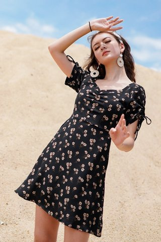 DESIREE SWEETHEART FLORAL TIE-RIBBON DRESS #MADEBYLOVET (BLACK)