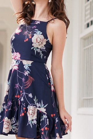 ELOISE FLORAL HALTER NECK DROPWAIST DRESS #MADEBYLOVET (NAVY)