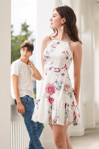 ELOISE FLORAL HALTER NECK DROPWAIST DRESS #MADEBYLOVET (WHITE) *BACKORDER*