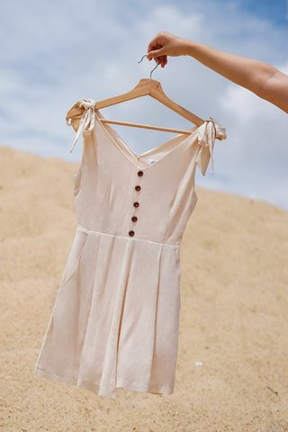 EVERLY TIE-STRAP LINEN BUTTON ROMPER WITH SASH #MADEBYLOVET (SAND)