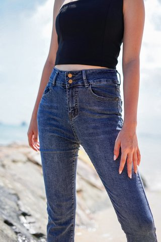 LOCO MOCO HIGH-WAIST DOUBLE BUTTON SLIM FIT JEANS #MADEBYLOVET *BACKORDER*