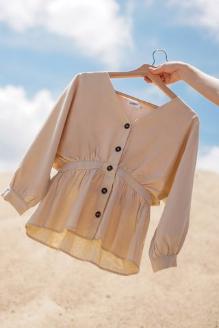 MOANNA BUTTON DOWN SLEEVE PEPLUM TOP #MADEBYLOVET (SAND)