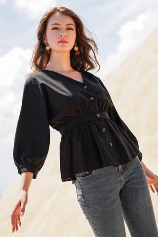 MOANNA BUTTON DOWN SLEEVE PEPLUM TOP #MADEBYLOVET (BLACK)