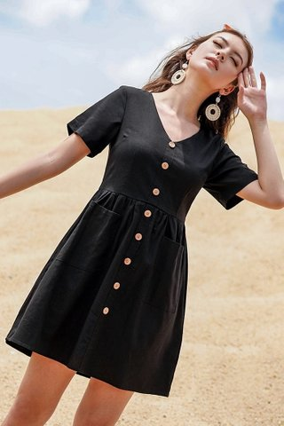 SARAH BABYDOLL LINEN BUTTON DRESS #MADEBYLOVET (BLACK) *BACKORDER*
