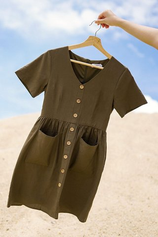 SARAH BABYDOLL LINEN BUTTON DRESS #MADEBYLOVET (OLIVE) *BACKORDER*