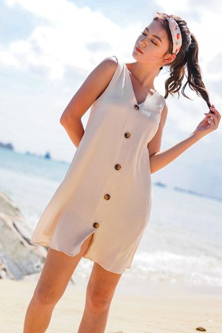 SIENA BUTTON DOWN V-NECK SHIFT DRESS #MADEBYLOVET (SAND)