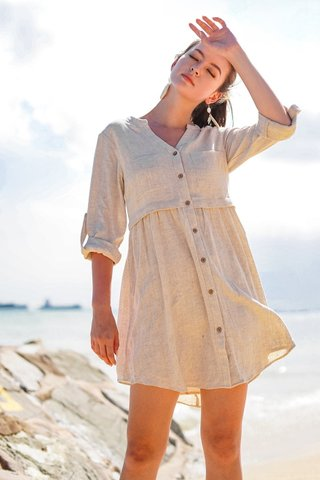 TAMIKA LINEN BUTTON DOWN SHIRT DRESS #MADEBYLOVET (OATMEAL) *BACKORDER*