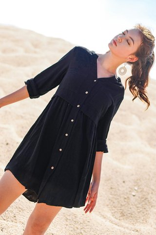 TAMIKA LINEN BUTTON DOWN SHIRT DRESS #MADEBYLOVET (BLACK) *BACKORDER*