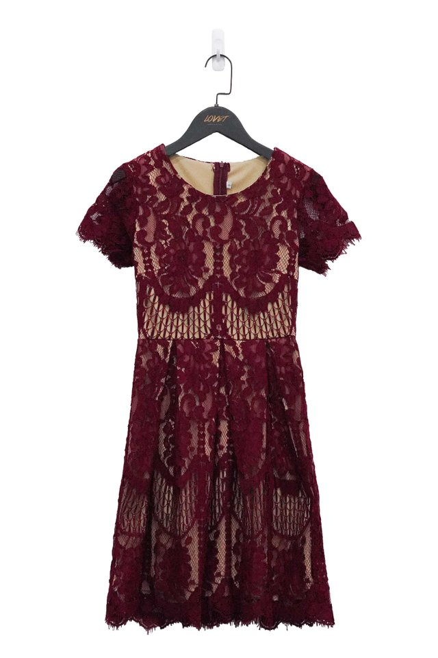 AMELINE CROCHET LACE DRESS (WINE)