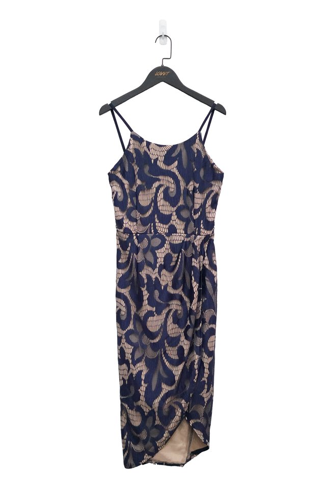 CYNTHIA LACE HALTER NECK MIDI DRESS (NAVY)