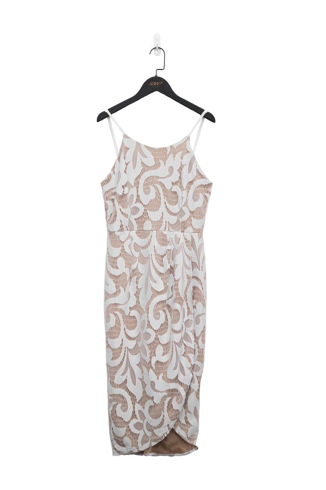 CYNTHIA LACE HALTER NECK MIDI DRESS (WHITE)