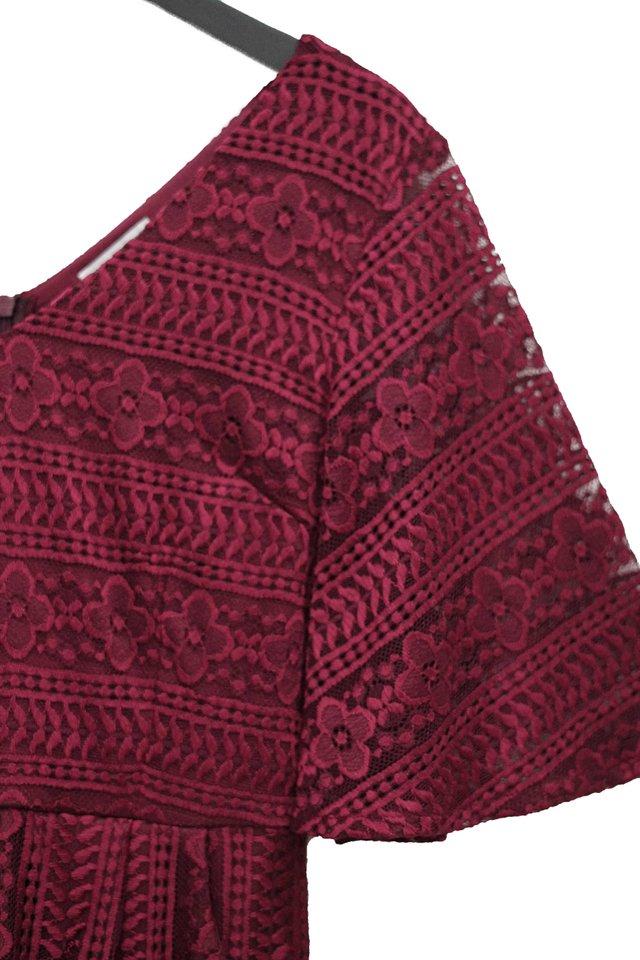 ELISA V-NECK CROCHET LACE DRESS #MADEBYLOVET (WINE)