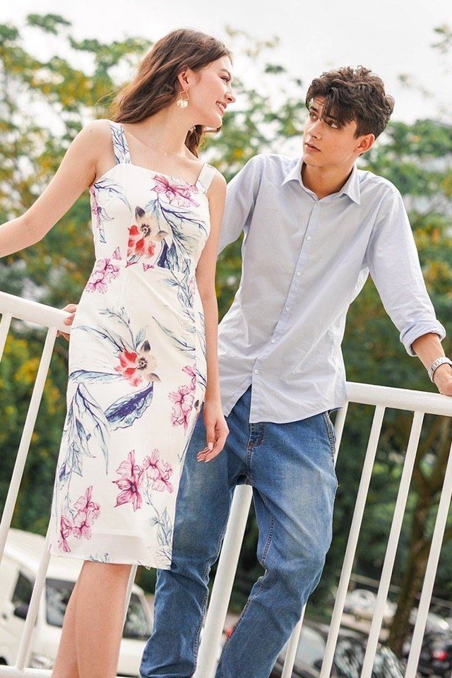 ALYSSA TIE-BACK PENCIL SLIT DRESS #MADEBYLOVET (FLORAL)