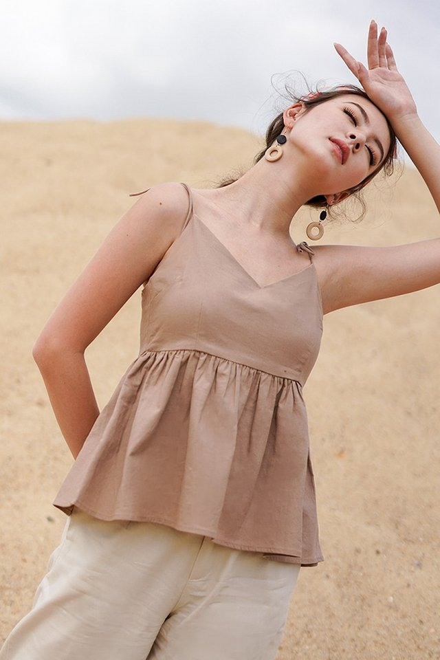 BAILEY TIE-STRING LINEN BABYDOLL TOP #MADEBYLOVET (MOCHA) *RESTOCKED*