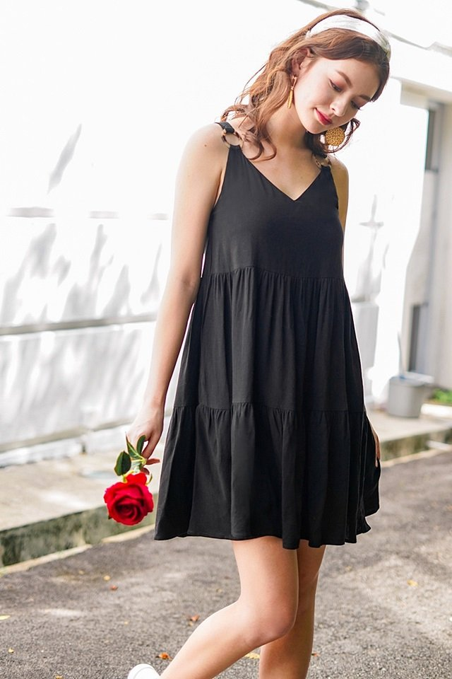 BELLE LINEN RING BABYDOLL DRESS #MADEBYLOVET (BLACK) *RESTOCKED*