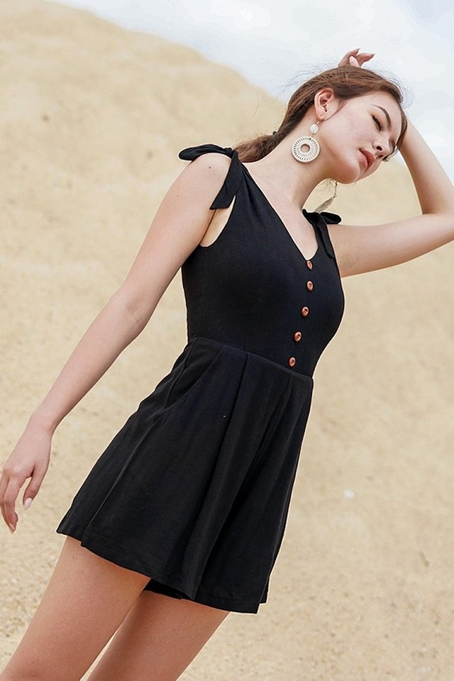 EVERLY TIE-STRAP LINEN BUTTON ROMPER WITH SASH #MADEBYLOVET (BLACK) *RESTOCKED*