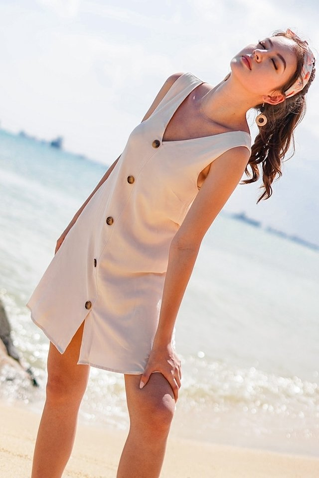 SIENA BUTTON DOWN V-NECK SHIFT DRESS #MADEBYLOVET (SAND)