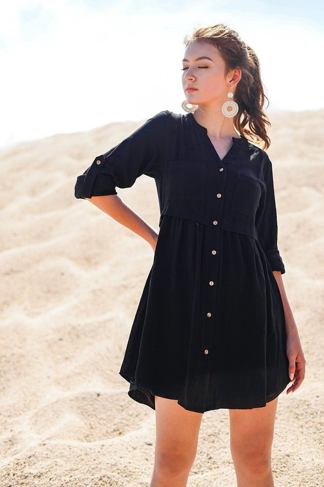 TAMIKA LINEN BUTTON DOWN SHIRT DRESS #MADEBYLOVET (BLACK) *RESTOCKED*