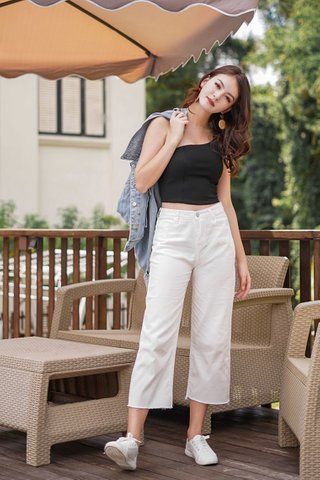 BRITTANY BASIC DISTRESSED SOFT DENIM CULOTTES #MADEBYLOVET (WHITE)