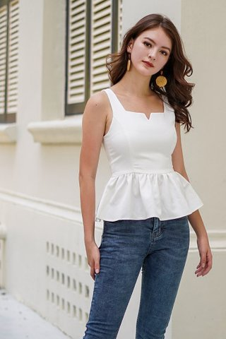 DESLYN BASIC NOTCHED PEPLUM TOP #MADEBYLOVET (WHITE)