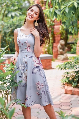 NATALIA FLORAL MIDI BUTTON DRESS WITH SASH #MADEBYLOVET (DUSTY BLUE)