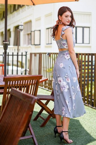 JASMINE RUFFLES FLORAL TIE-STRING SLIT MAXI DRESS #MADEBYLOVET (DUSTY BLUE)
