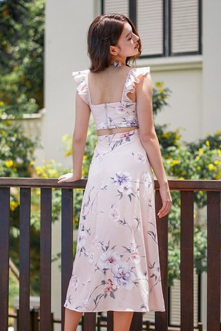 JASMINE RUFFLES FLORAL TIE-STRING SLIT MAXI DRESS #MADEBYLOVET (DUSTY PINK)