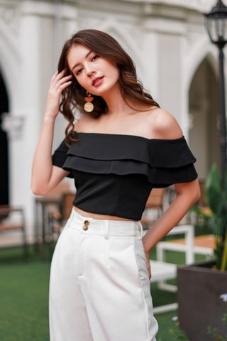 LUMIE OFF-SHOULDER LAYER CROP TOP #MADEBYLOVET (BLACK) *BACKORDER*
