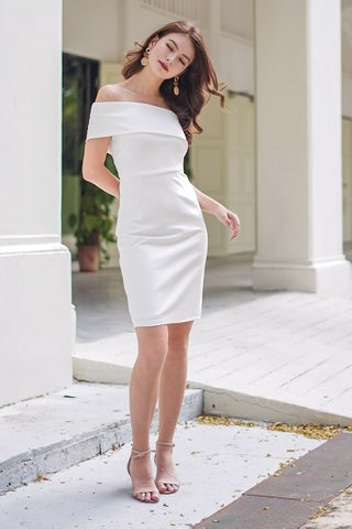 MONIQUE TOGA BODYCON DRESS #MADEBYLOVET (WHITE)