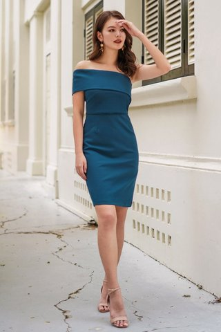 MONIQUE TOGA BODYCON DRESS #MADEBYLOVET (TEAL BLUE)