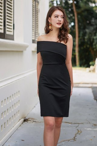 MONIQUE TOGA BODYCON DRESS #MADEBYLOVET (BLACK) *BACKORDER*