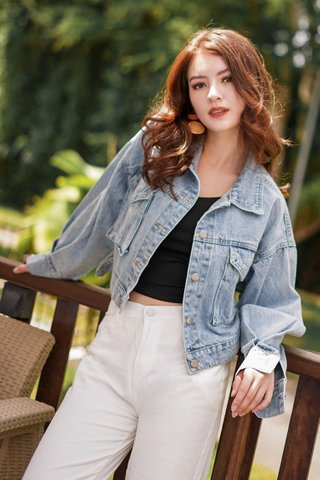 SKYE BASIC CROP DENIM BOYFRIEND JACKET #MADEBYLOVET (LIGHT WASHED) *BACKORDER II*