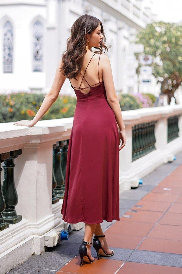 ASHLYNN CRISS-CROSS BACK MAXI DRESS #MADEBYLOVET (WINE)