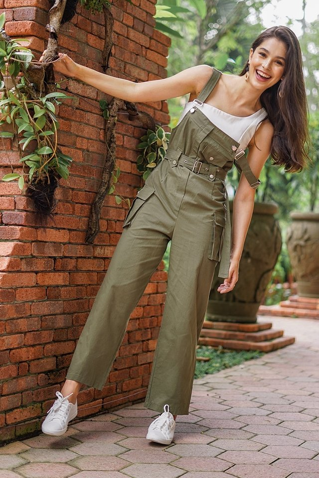 BROOKLYN CARGO POCKET DUNGAREE #MADEBYLOVET (MILITARY GREEN) *RESTOCKED*