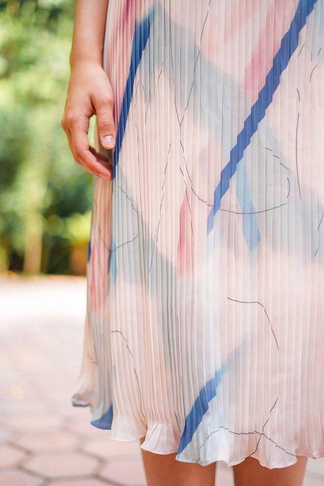 FAITH WATERCOLOR PLEAT MIDI DRESS #MADEBYLOVET (BLUSH) *RESTOCKED*