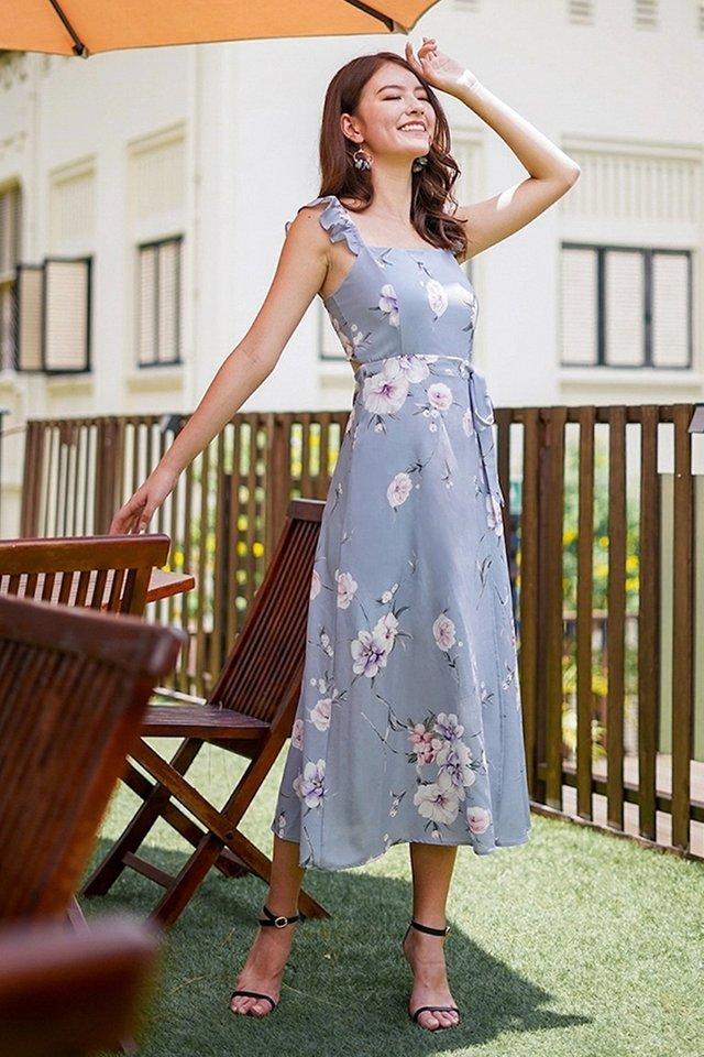 JASMINE RUFFLES FLORAL TIE-STRING SLIT MAXI DRESS #MADEBYLOVET (DUSTY BLUE)