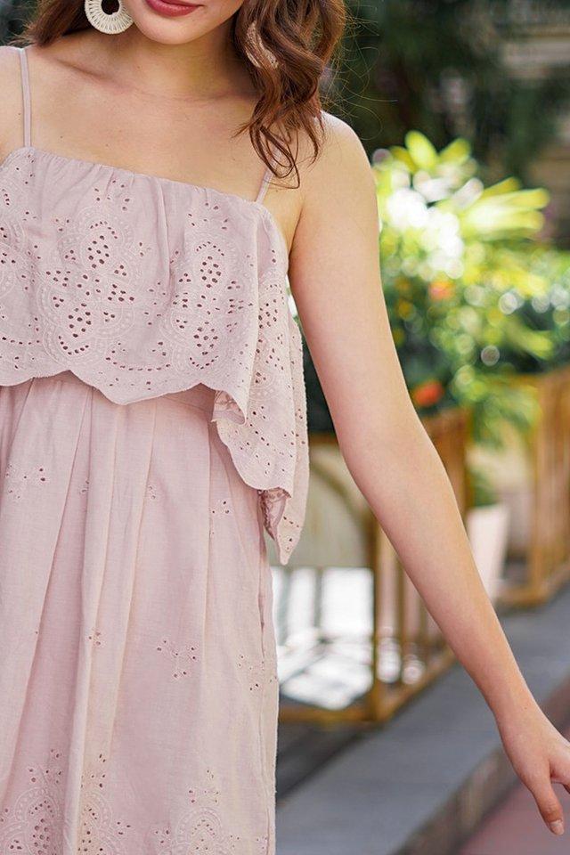 JOVIE DROP-SHOULDER EYELET DRESS #MADEBYLOVET (DUSTY PINK)