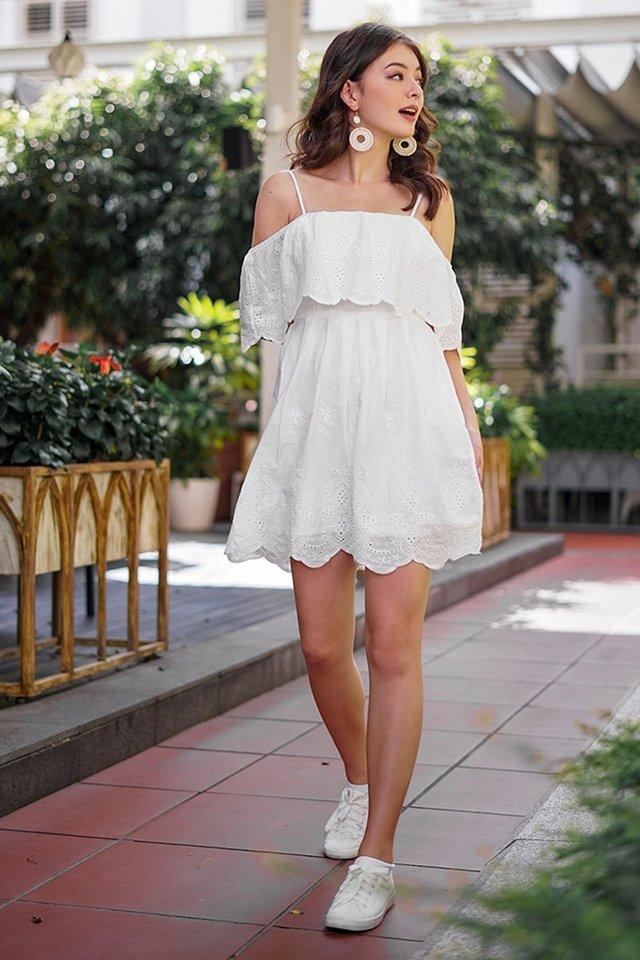 JOVIE DROP-SHOULDER EYELET DRESS #MADEBYLOVET (WHITE)