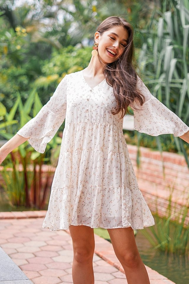KASANDRA FLORAL BUTTON BABYDOLL DRESS #MADEBYLOVET (OFF-WHITE) *RESTOCKED*