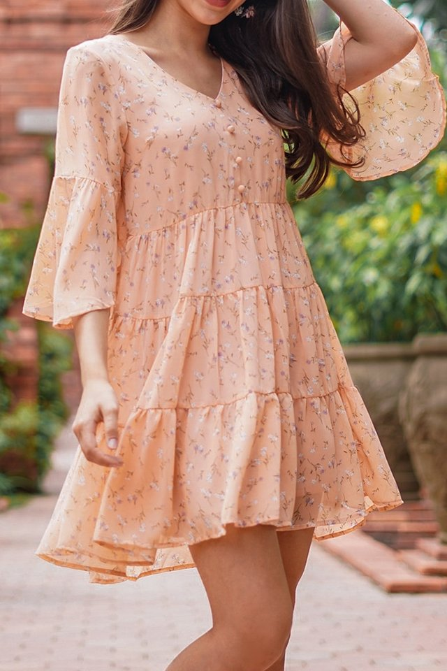 KASANDRA FLORAL BUTTON BABYDOLL DRESS #MADEBYLOVET (SALMON)