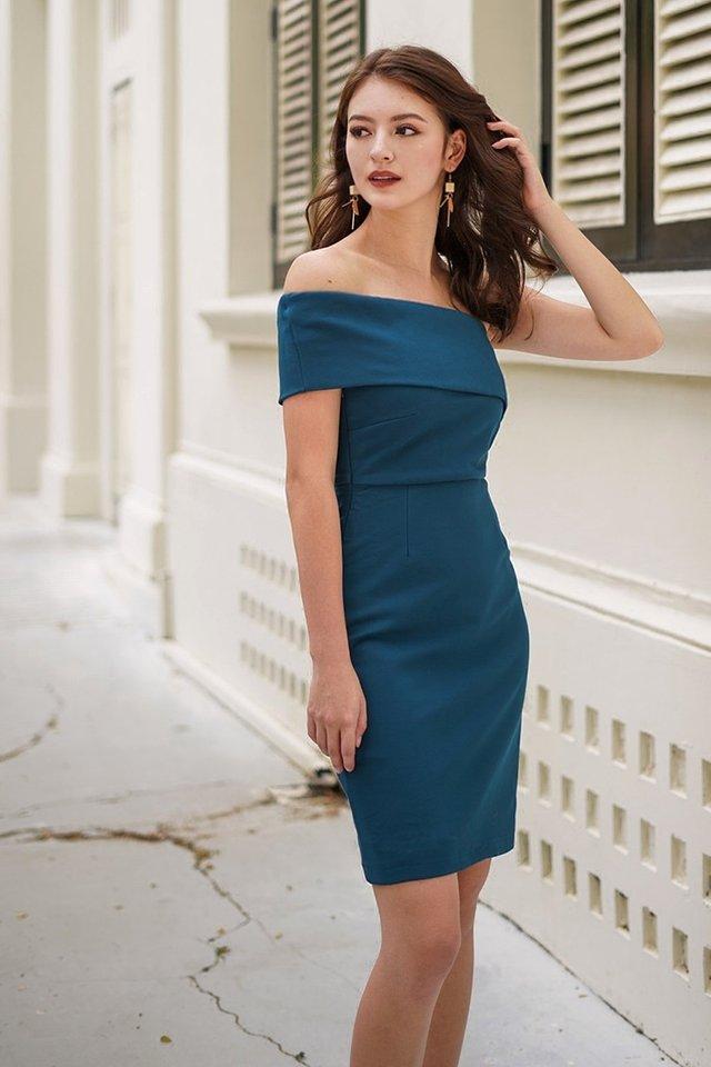 MONIQUE TOGA BODYCON DRESS #MADEBYLOVET (TEAL BLUE)