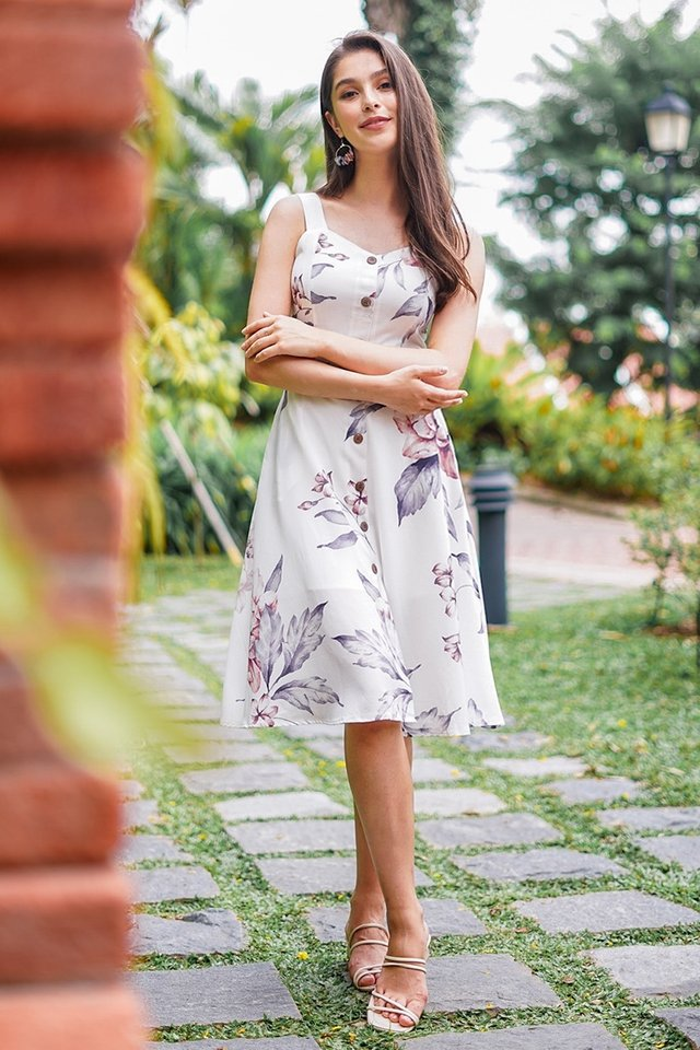 NATALIA FLORAL MIDI BUTTON DRESS WITH SASH #MADEBYLOVET (WHITE)