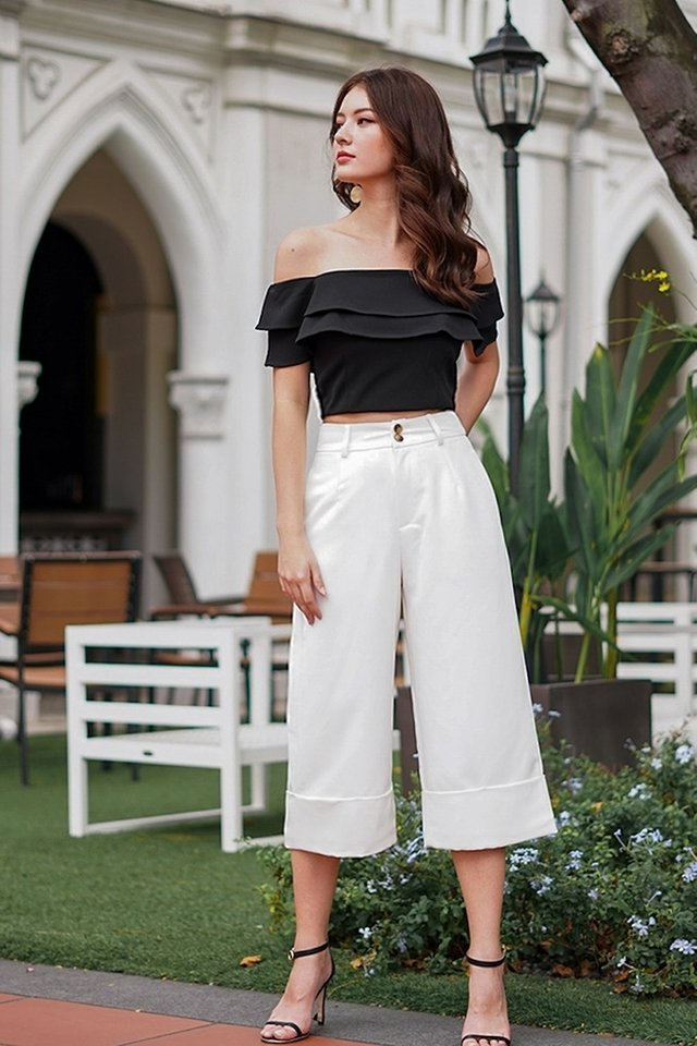 BERLIN CUFFED HIGH WAIST CULOTTES #MADEBYLOVET (WHITE) *RESTOCKED*