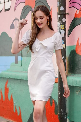 CALISTA TIE FRONT RIBBON 2-WAY DRESS #MADEBYLOVET (WHITE)
