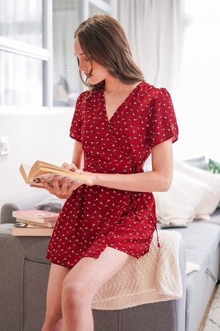 CAROLYN  WRAP TIE-STRING FLORAL ROMPER DRESS #MADEBYLOVET (CHERRY RED) *BACKORDER*